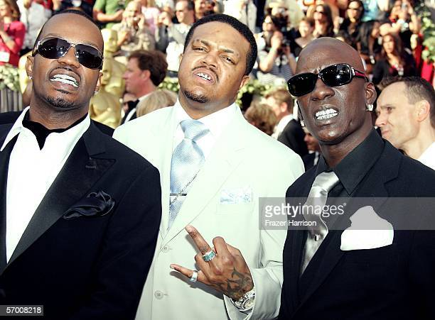 Three 6 mafia's Juicy J DJ Paul and Crunchy Black arrive to the 78th Annual Academy Awards at the Kodak Theatre on March 5 2006 in Hollywood...