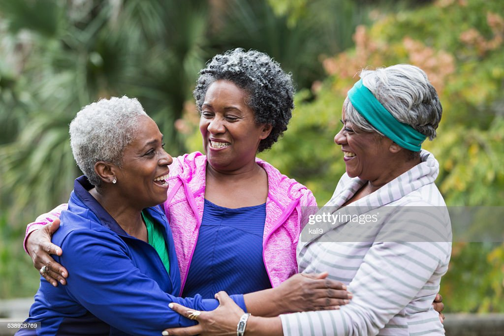 Three African American senior women talking : Stock Photo