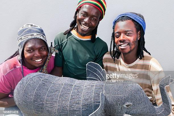 Tre artigiani africana con le perline