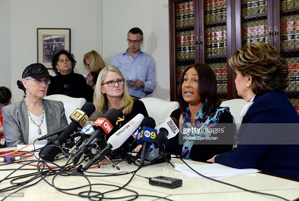 Three alleged victims of sexual abuse by comedian Bill Cosby using the assumed name Lynn Neal (L) Linda Kirkpatrick (2nd L) and using the assumed name Kacey (C) speak during a news conference with attorney <a gi-track='captionPersonalityLinkClicked' href=/galleries/search?phrase=Gloria+Allred&family=editorial&specificpeople=213999 ng-click='$event.stopPropagation()'>Gloria Allred</a> (R) January 7, 2015 in Los Angeles, California. Cosby has been accused of sexual assault by over 20 women.