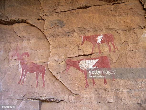 Three Animals, Rock painting in the Sahara