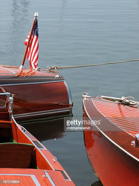 Three Antique Wood Boats Moored in Harbor