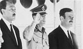 President Anwar Sadat of the UAR Premier Lt Col Muammar alQaddafi of Libya and President Lt Gen Hafez alAssad of Syria are shown here Aug 18th before...