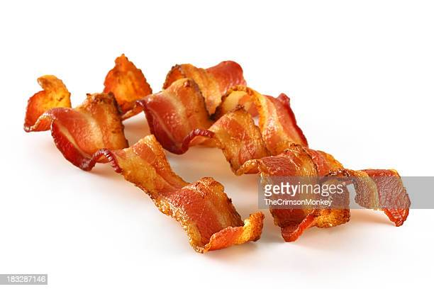 Three Bacon Slices on White