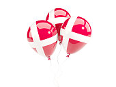 Three balloons with flag of denmark isolated on white. 3D illustration