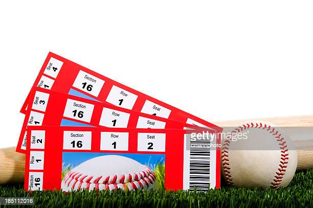 Three Baseball Tickets in Grass with Ball and Bat