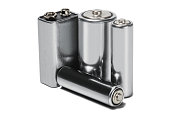 Three batteries AAA, AA and PP3 on white isolated background. Concept of renewable energy and sources of electrical power. Pattern for designer of environmental power sources, electrical power sources