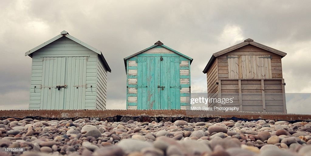 Three beach huts in row