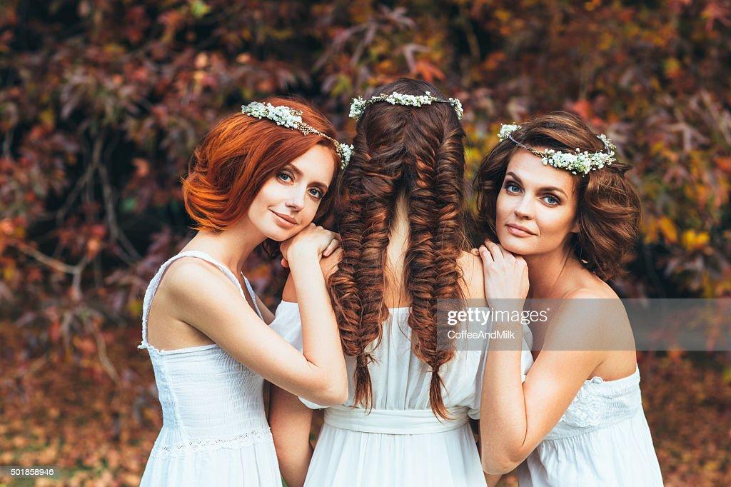 Three beautiful bride : Stock Photo