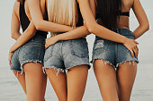Three beautiful girls show their shapes