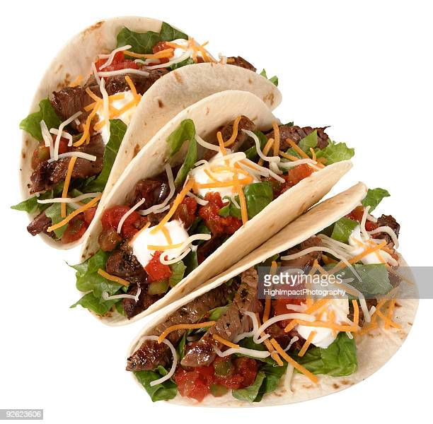 Three beef tacos on a white background