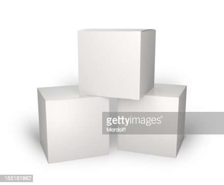 Three blank box isolated on white