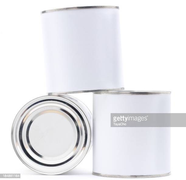 Three blank tin cans