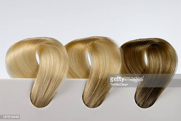 three blonde hair swatches