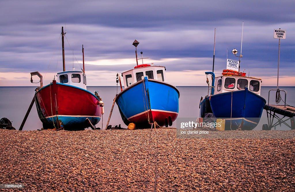 Three Boats, Beer, Dorset, England : Stock Photo