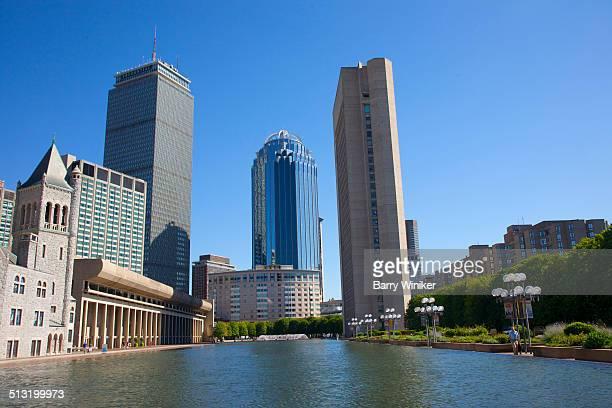 Three Boston towers near reflecting pool