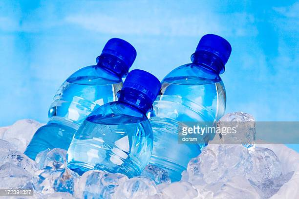 Three bottles of water and ice