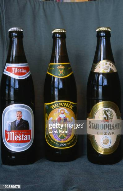 Three brands of popular commerical beer from Prague.