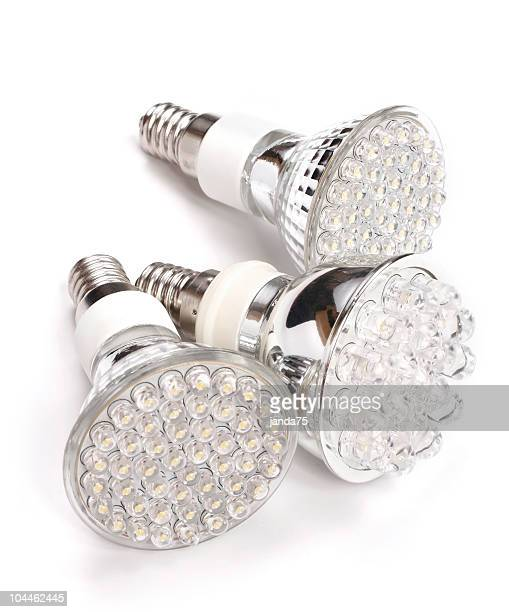 Three bright LED energy saving light bulbs