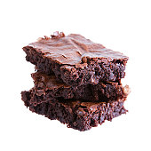 Three brownies on top of each other isolated in white