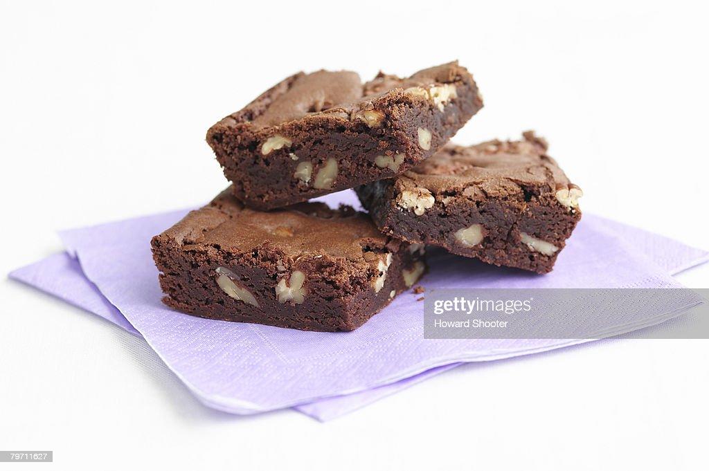 Three brownies, studio shot
