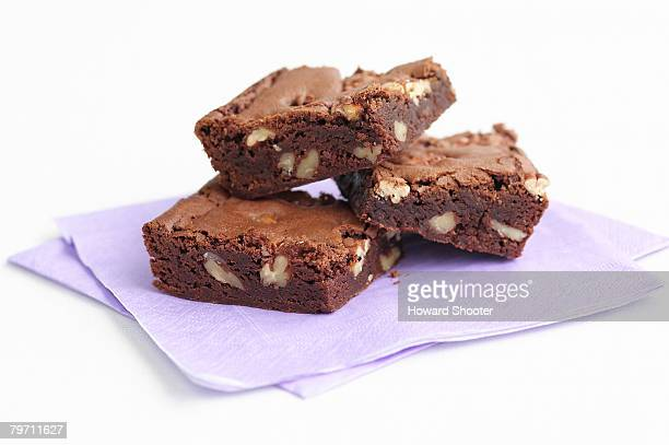 Three brownies, studio shot