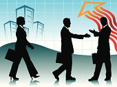 Three business people on abstract background
