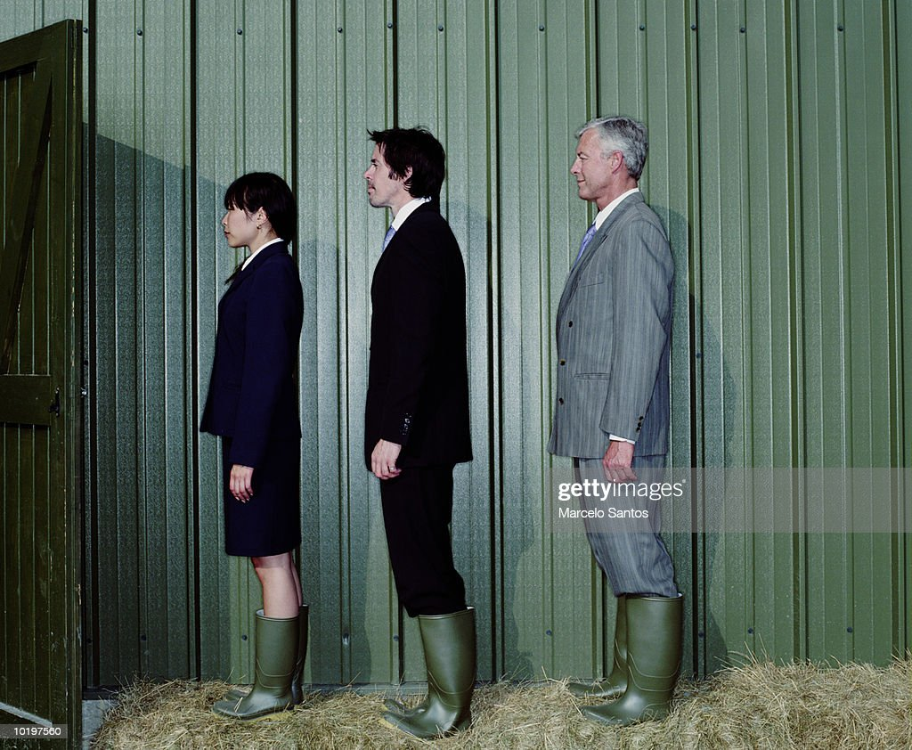 Three business people wearing wellingtons boots on haystack, profile : Stock Photo