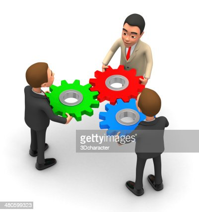 three businessmen and stack gear : Stock Photo