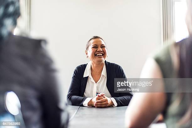Three businesswomen in conference room
