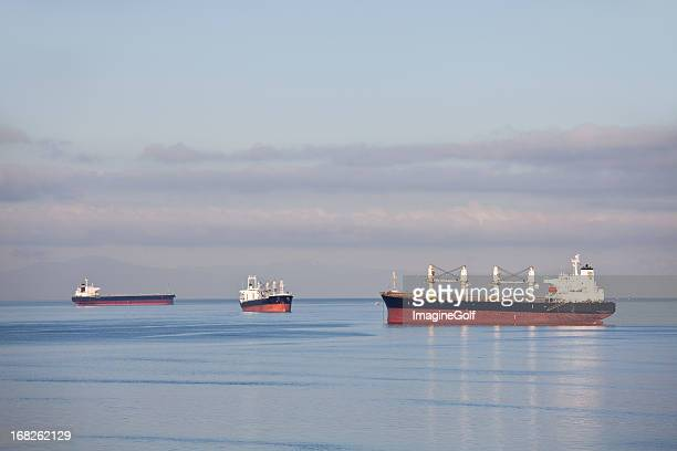 Three Cargo Ships in Vancouver