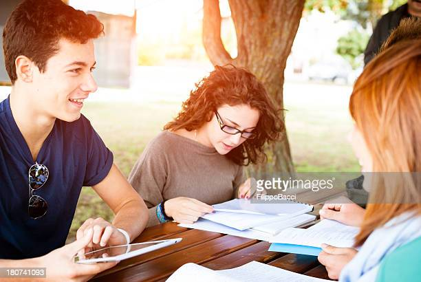 Three Caucasian friends studying outdoors next to a tree