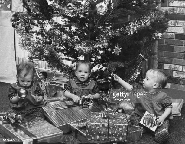 Three Cheers for Christmas But Don't Eat the Ornaments Knowing nothing of the delights of Christmas the 1 year old McCall triplets Helen Mary and...