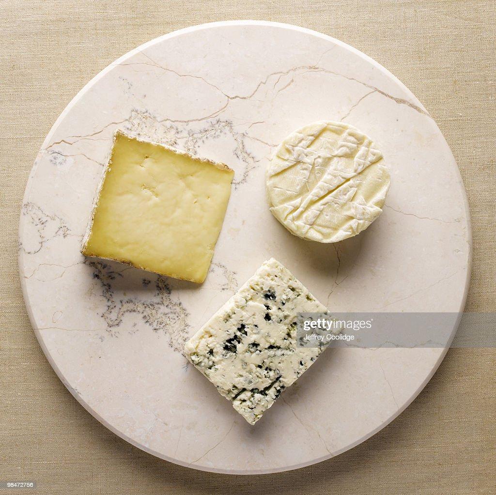 Three Cheeses on Stone : Stock Photo