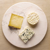 Three Cheeses on Stone