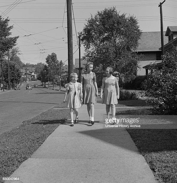 Three Children on Way Home from Sunday School Cincinnati Ohio USA Esther Bubley for Office of War Information September 1943