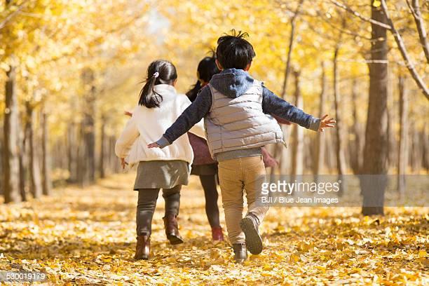 Three children playing in autumn woods