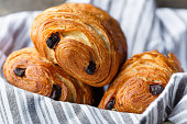 three pain au chocolat in a bread basket