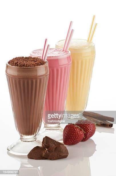 Three classics milkshakes drinks on white background