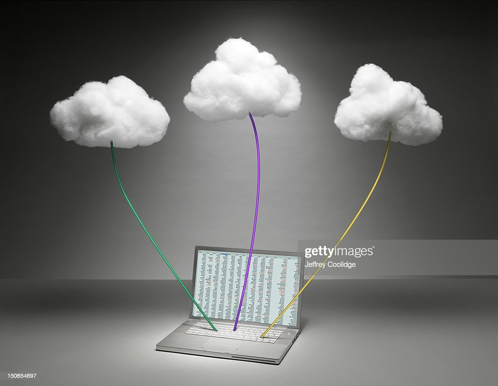 Three Clouds Connected to Laptop