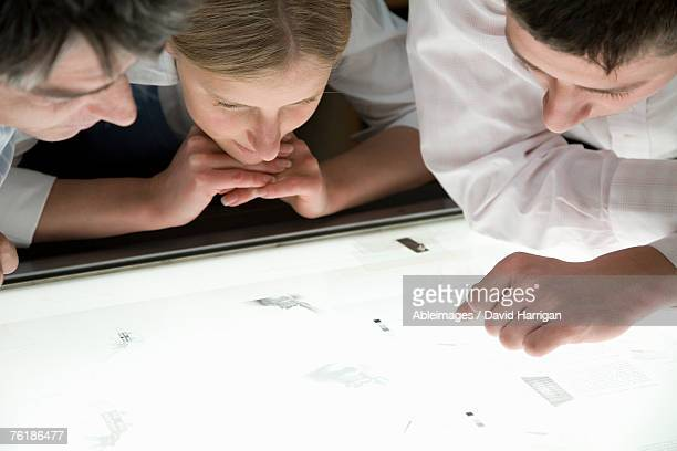 Three colleagues leaning over a light box