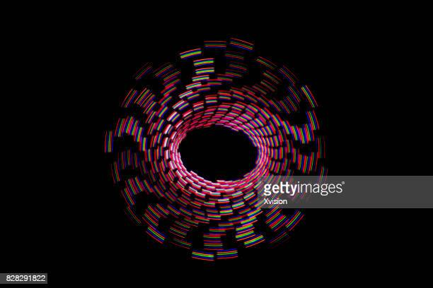 three color spiral image light painting