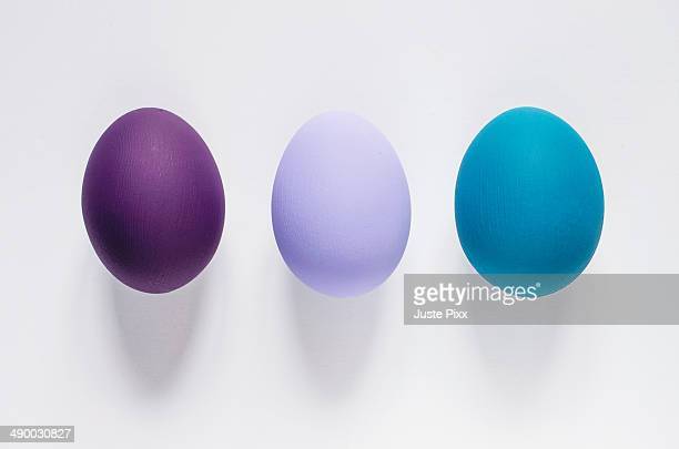 Three colored Easter eggs