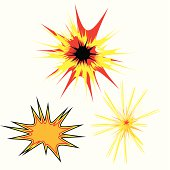 Three colored stars in a cartoon style with copy space