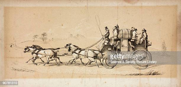 Three colour lithograph showing a horsedrawn coach travelling between London and Dover Kent