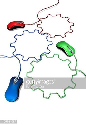Three computer mice cables forming interlocking : Stock Photo