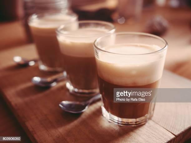 Three cortado coffees