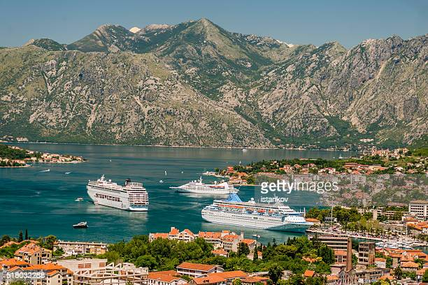 Three cruise liners in front of Kotor Port,