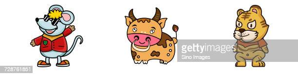 Three cute cartoon animal characters with cow and anthropomorphic mouse and tiger