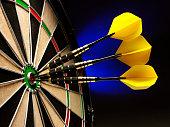 Three Darts Scoring a Bulls Eye